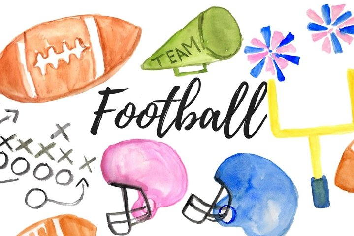 Watercolor sports football clipart