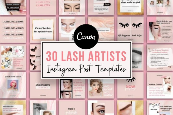 30 Eyelash Lash Artists Instagram Post templates Canva