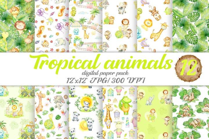 Tropical animal digital paper. Giraffe, sloth, leopard,