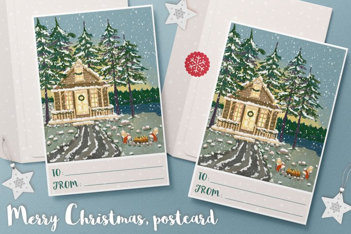 Christmas greeting postcard with cozy cabin in winter forest