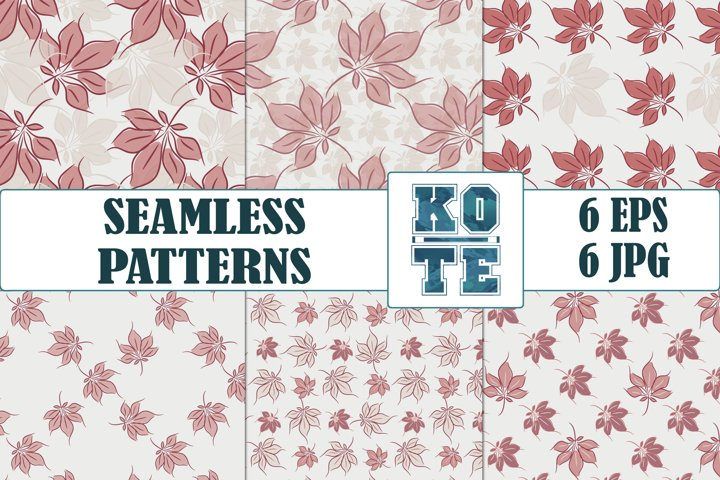 6 Chestnut Leaves Floral Seamless Pattern