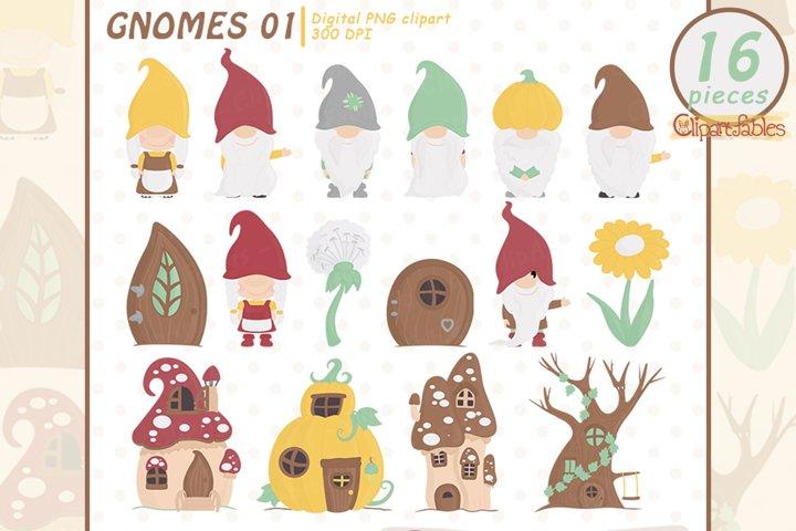 Cute GNOME clipart, Woodland clip art, Gnome friends
