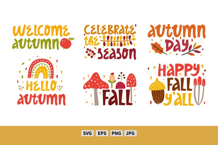 Fall vector clipart, graphic, illustration. Autumn quote svg