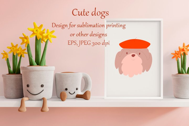 Cute dogs clip art set and pattern