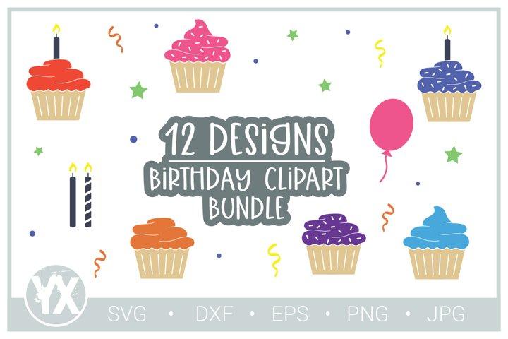 Birthday Clipart - Cupcake SVG Bundle