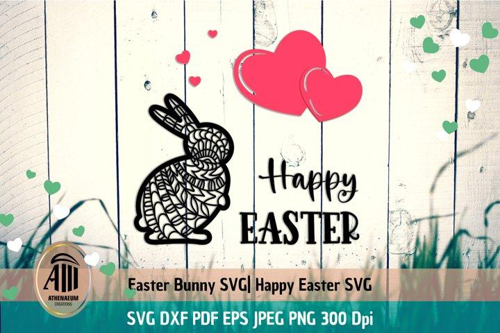 Papercut Easter Bunny SVG| Happy Easter card SVG| Easter SVG