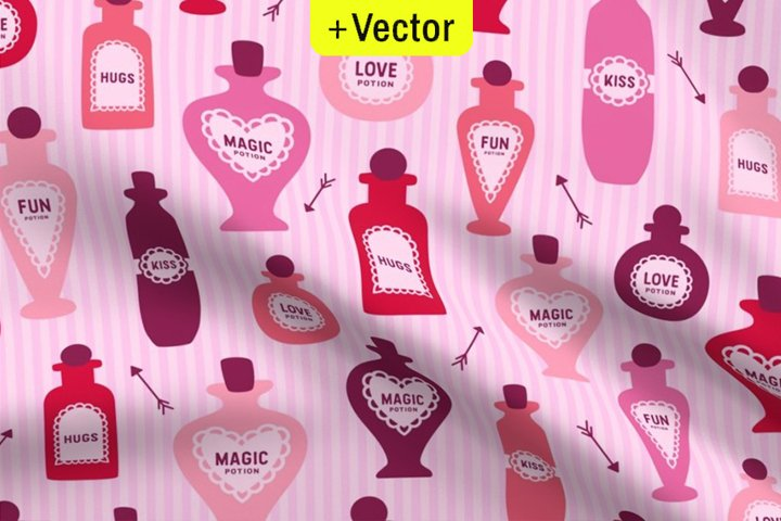 Valentines Day vector pattern seamless Love Potion B