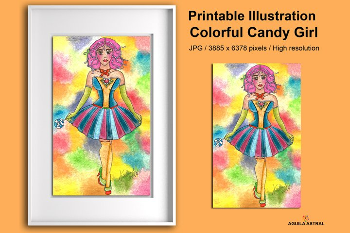 Ilustración para imprimir Colorida Candy Girl