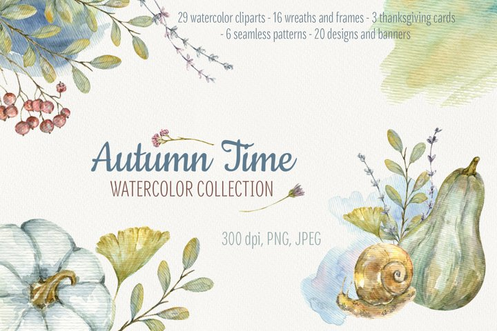 Autumn Time. Big Watercolor Collection