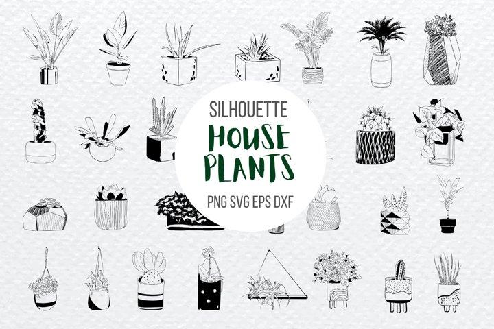 House Plants SVG Bundle   Pot plants Cut File   Cactus print