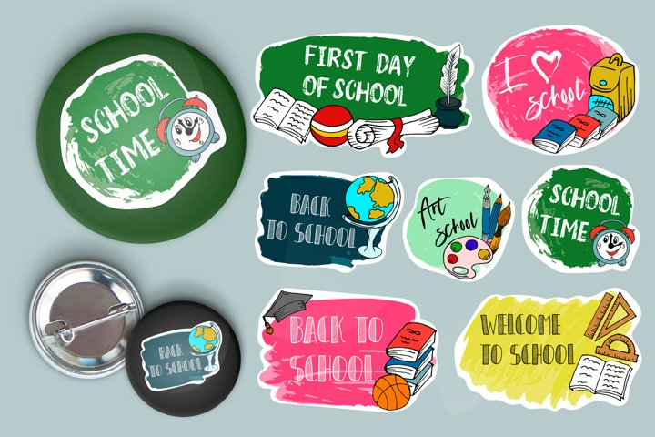 Set of back to school labels. Typography emblem. School