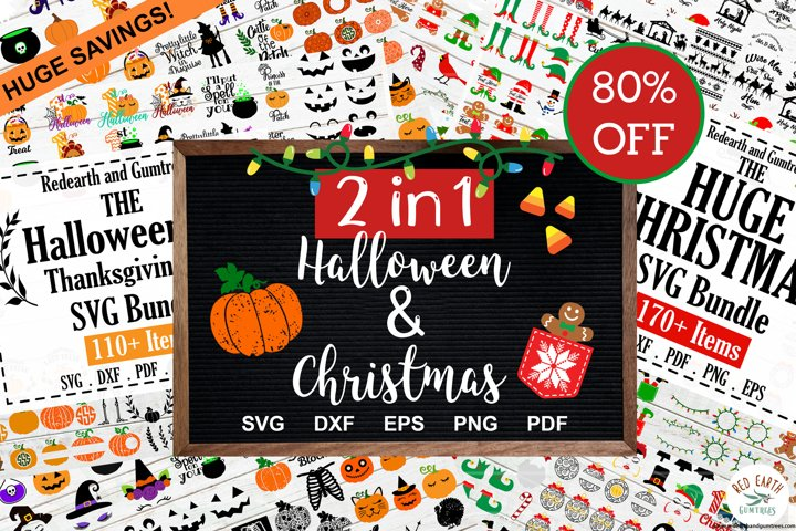 2 in 1 Huge Christmas and Halloween Bundle SALE SVG,PNG,DXF
