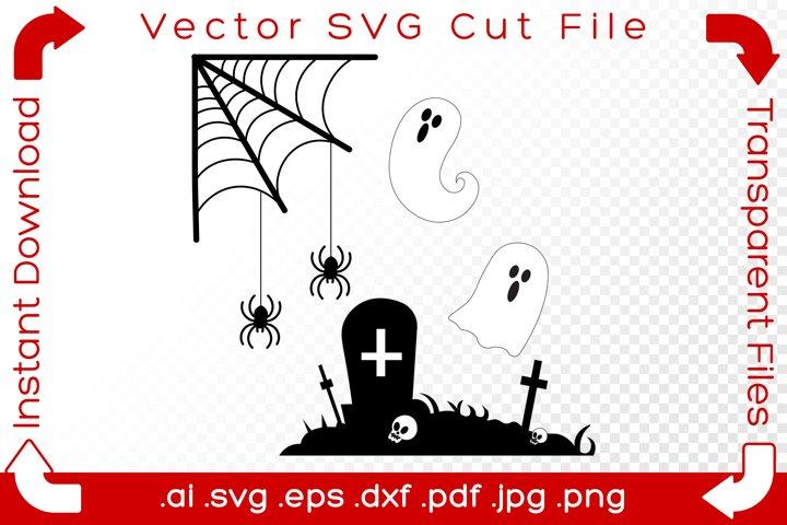 Halloween Graveyard Tomb SVG Scene Holiday Cut Files Bundle