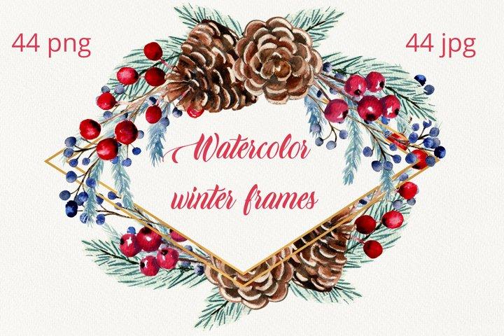 Set watercolor winter frames