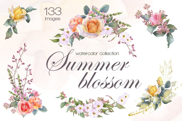 Summer blossom floral watercolor collection
