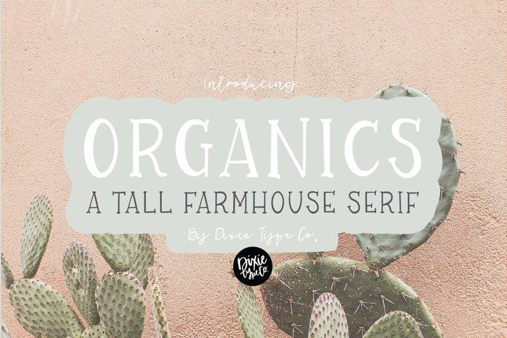 ORGANICS a Tall Farmhouse Font