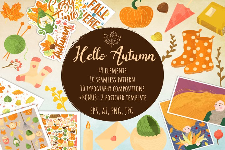 Hello Autumn - Fall elements clipart AI, EPS10, JPG, PNG