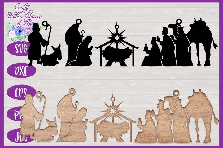 Christmas SVG | Nativity Scene SVG | Laser Cut Ornament SVG