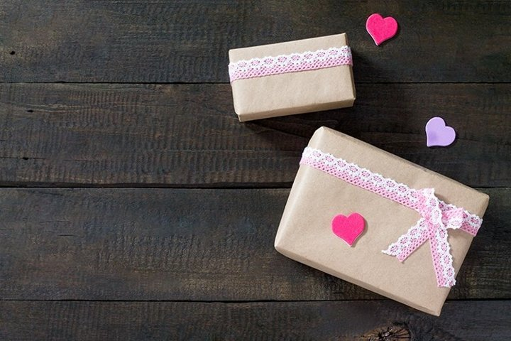 Valentine Day day or birthday presents with paper heart.