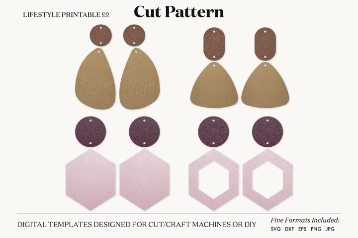 Earrings SVG Template, Silhouette Cut Files, Cricut