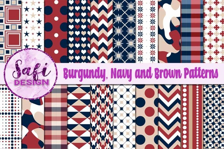 Digital Paper Backgrounds - Burgundy, Navy and Brown Pattern