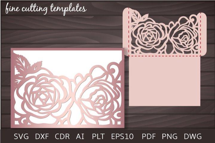 Roses Wedding Invitation 5x7 SVG Pocket Envelope laser cut
