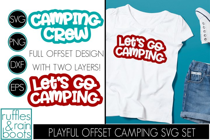 Camping SVG with Offset Designs and Two Layer Clipart