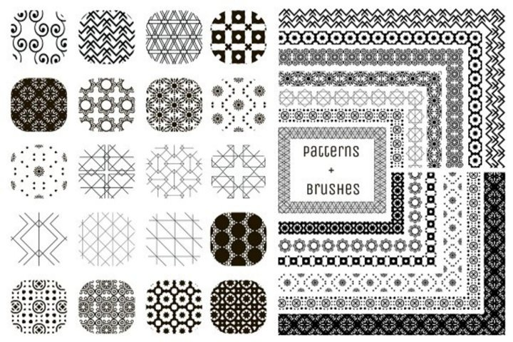 20 Patterns and 13 Pattern Brushes. Vector Illustration.