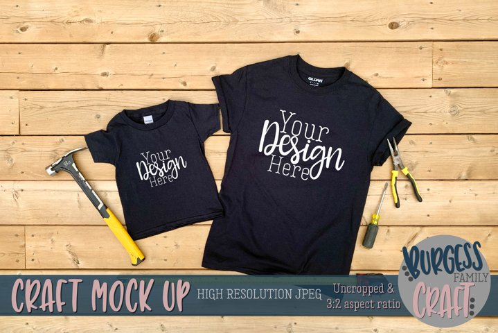 Parent and child black Gildan t-shirt |Craft mock up