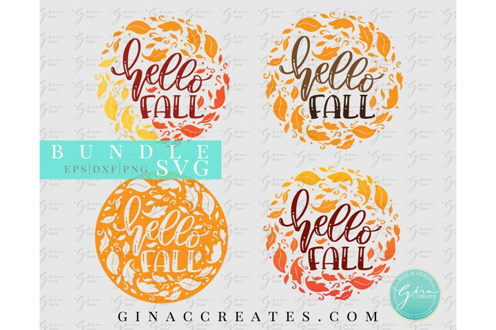 Hello Fall SVG Bundle, Autumn Leaves SVG