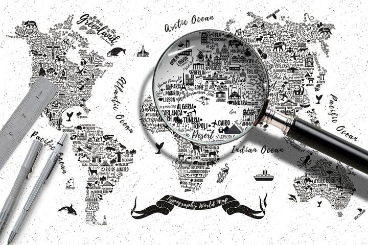Typography World Map.