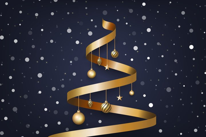 Christmas background with tree made of golden ribbon