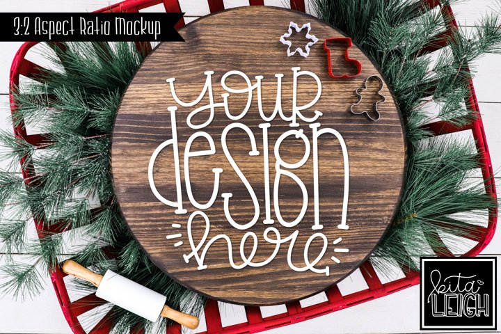 Wood Round Christmas Mockup with Cookies