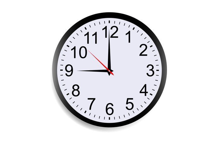 Round clock face showing nine oclock isolated