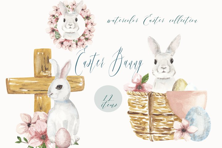 Watercolor Easter clipart, Cute Easter Bunny clipart