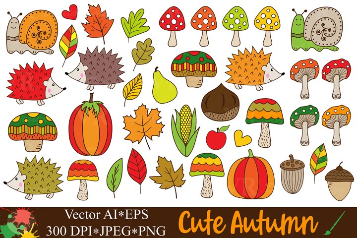 Cute autumn clipart / Fall forest graphics and illustrations