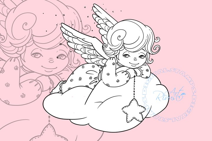 Angel Digital stamp - Christmas Bird Digi stamp coloring.
