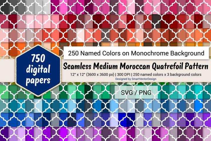 Seamless Moroccan Quatrefoil Digital Paper-250 Colors on BG
