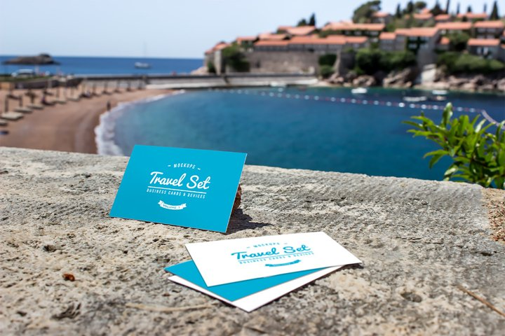 Business cards mockup & Sea view | Travel Mockup Collection