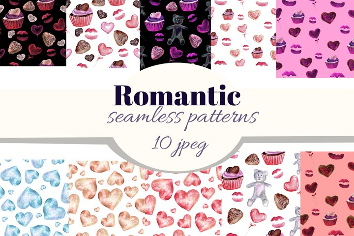 Romantic seamless patterns. Valentines day watercolor paper