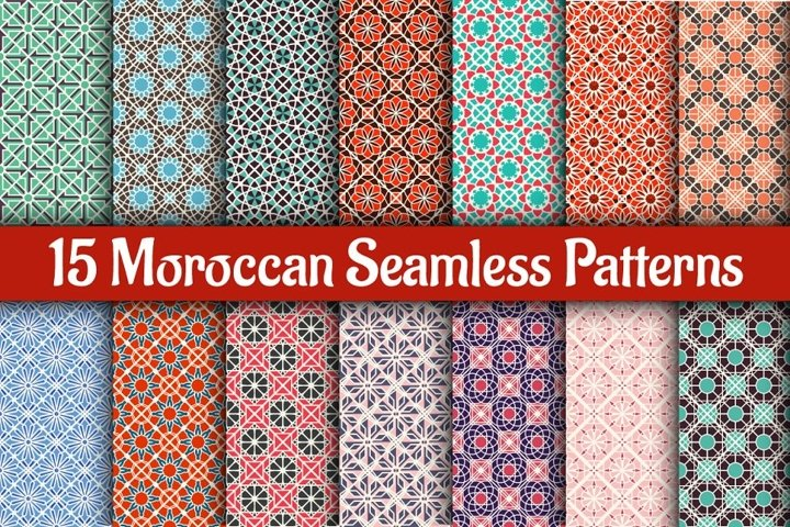 15 Moroccan Seamless Patterns EPS Ai CDR PSD PAT JPG