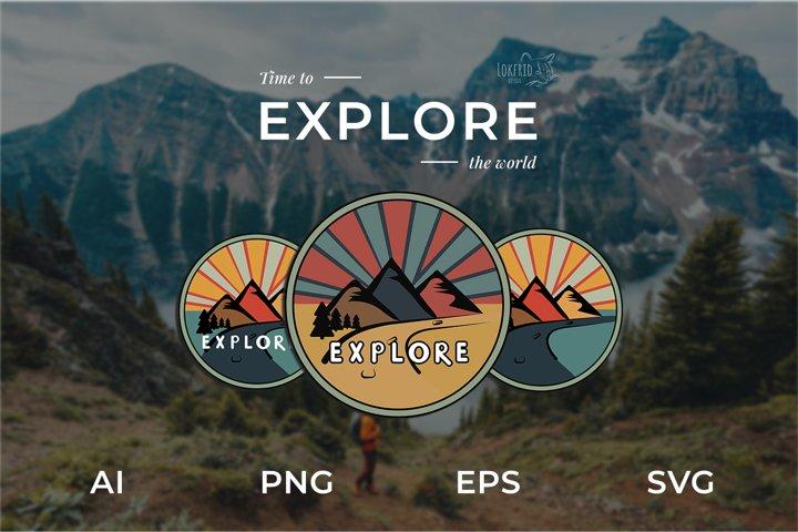 Explore Graphic bundle. Set of three colorful round logos.