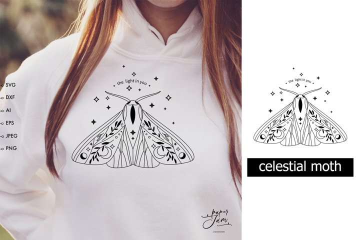 Moth svg, Celestial svg clipart, Mystical svg, women shirt