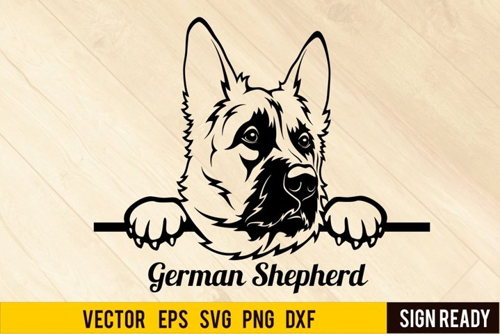 Peeking German Shepherd Dog DOG SVG Clipart Vector Cut Re