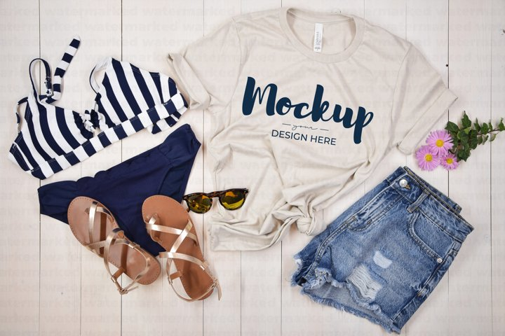Summer Shirt Mockup, Beige Shirt Mock up, Bella Canvas