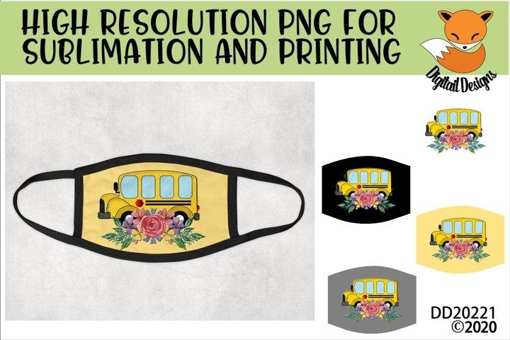 School Bus Floral Sublimation Design Mask Bundle
