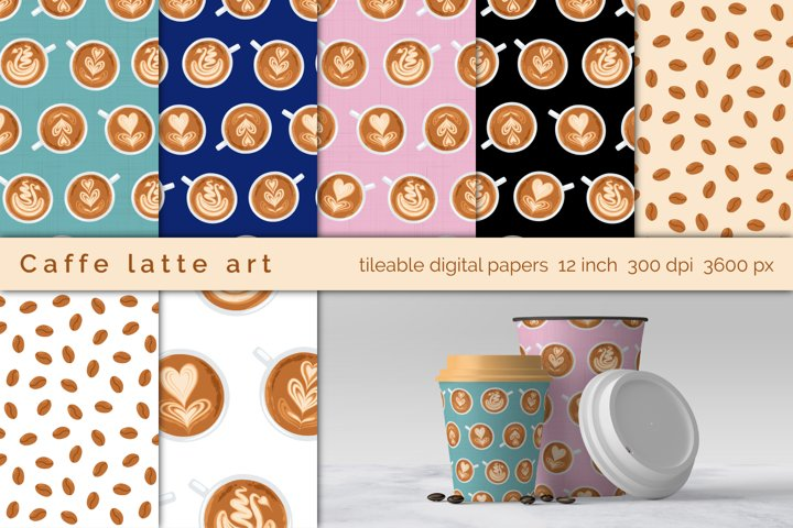 Coffee Art Cups digital papers and clip-art