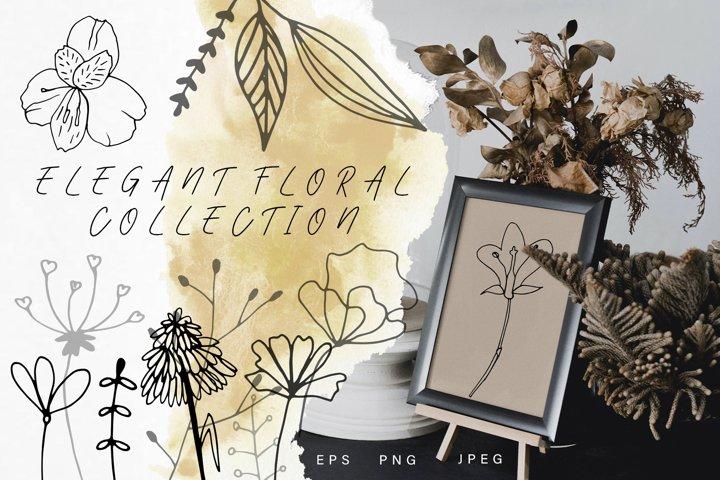 Elegant Floral Vector Boho Clipart. Doodle Wedding invites