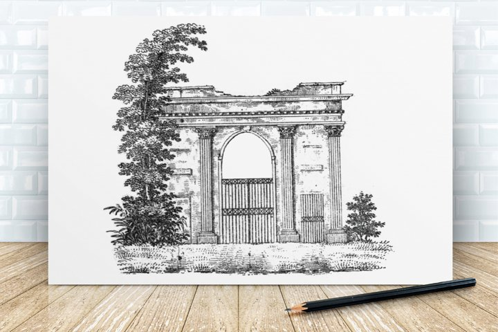 Vintage Illustration of Antique Victorian Gate, Antique Gate