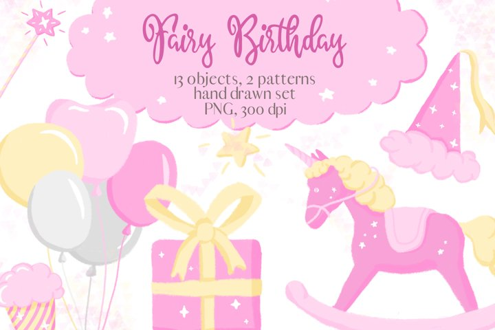 Fairy Birthday Pink Girl Clipart Set Hand Drawn Pastel